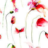 Seamless wallpaper with Lily, Poppy and Tulips Stock Photo