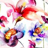 Seamless wallpaper med blommor Royaltyfri Fotografi