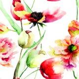 Seamless wallpaper med blommor Fotografering för Bildbyråer