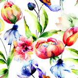 Seamless wallpaper med blommor Royaltyfria Foton