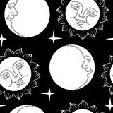 Seamless wallpaper the Moon and Sun with faces Royalty Free Stock Image