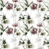 Seamless wallpaper with Narcissus and Roses flowers. Watercolor painting Stock Photos