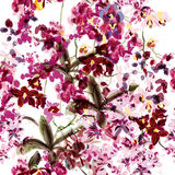 Seamless wallpaper with orchid flowers painded by watercolor and Stock Photo