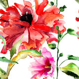 Seamless wallpaper with original beautiful flowers Stock Photos