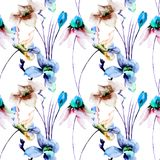 Seamless wallpaper with Original flowers. Watercolor illustration Stock Photo