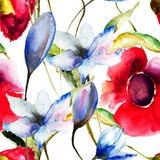 Seamless wallpaper with original flowers. Watercolor illustration Royalty Free Stock Images