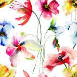 Seamless wallpaper with Original flowers Royalty Free Stock Photography