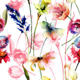 Seamless wallpaper with Original flowers Royalty Free Stock Photos