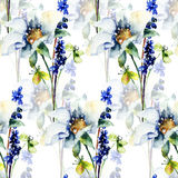 Seamless wallpaper with Original spring flowers. Watercolor illustration Royalty Free Stock Photo