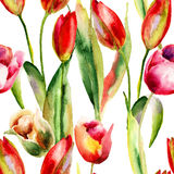 Seamless wallpaper with Original Tulips flowers Royalty Free Stock Images