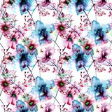 Seamless wallpaper with Pansy  and Gerber flowers. Watercolor illustration Stock Photo