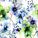 Seamless wallpaper with Pansy  and Gerber flowers Royalty Free Stock Photo
