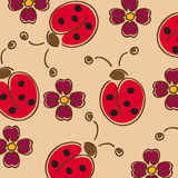 Seamless wallpaper pattern. With flowers and ladybugs Stock Photos