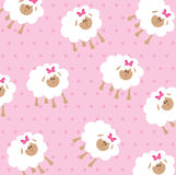 Seamless wallpaper pattern. With cute sheeps Royalty Free Stock Photos
