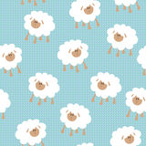 Seamless wallpaper pattern. With sheeps Stock Photos