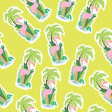 Seamless wallpaper pattern. With flamingo Royalty Free Stock Images