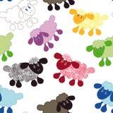 Seamless wallpaper pattern. Cartoon sheep lamb  illustration background Royalty Free Stock Photos