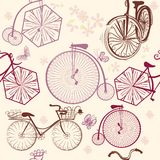 Seamless wallpaper pattern with bicycles in retro style Stock Photography