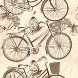 Seamless wallpaper pattern with bicycles in retro style Stock Image