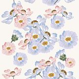 Seamless wallpaper pattern with blue and pink cosmos flowers Stock Photos