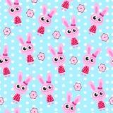 Seamless wallpaper pattern, bunny, rabbit, soft toy, vector illustration, children's wallpaper, children's background Royalty Free Stock Photos