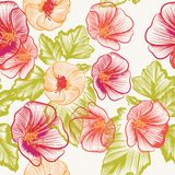Seamless wallpaper pattern with colorful  flowers Royalty Free Stock Photo