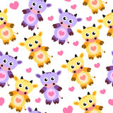 Seamless wallpaper pattern, cow, soft toy, vector illustration, children's wallpaper, children's background Royalty Free Stock Images