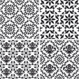 Seamless wallpaper pattern floral, black and white Stock Photo