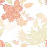 Seamless wallpaper pattern with floral elements for design Stock Photography