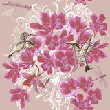 Seamless wallpaper pattern in floral stye Royalty Free Stock Photography