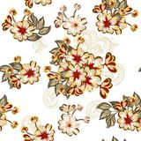 Seamless wallpaper pattern with flowers Stock Image