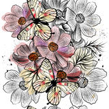 Seamless wallpaper pattern with hand drawn cosmos flowers Royalty Free Stock Photos