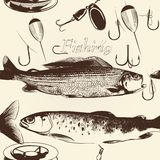 Seamless wallpaper pattern with hand drawn fish Stock Photo