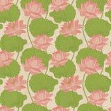 Seamless wallpaper pattern with lotus. Royalty Free Stock Photos