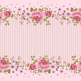 Seamless wallpaper pattern with of pink roses. Royalty Free Stock Images