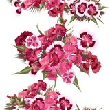 Seamless wallpaper pattern with realistic  pink flowers Stock Photos