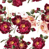 Seamless wallpaper pattern with realistic vector roses in vintag Stock Photo