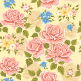 Seamless wallpaper pattern with roses. Vector illustration Stock Photography