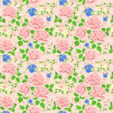 Seamless wallpaper pattern with roses. Vector Stock Image