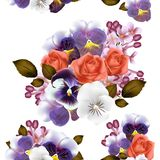 Seamless wallpaper pattern with roses and violets flowers Stock Images