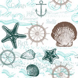 Seamless wallpaper pattern with sea animals Royalty Free Stock Photography