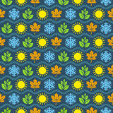 Seamless wallpaper pattern with seasons icons Stock Images