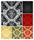 Seamless Wallpaper Pattern, set of six colors.  Stock Images