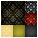 Seamless Wallpaper Pattern, set of six colors.  Royalty Free Stock Photos