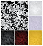 Seamless Wallpaper Pattern, set of six colors. Computer illustration Stock Photos