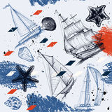 Seamless wallpaper pattern with ships drawn in watercolor style Royalty Free Stock Images