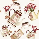 Seamless wallpaper pattern with teapots, cups and flowers Royalty Free Stock Photos