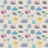 Seamless wallpaper pattern with travel icons. Vector illustration Stock Image