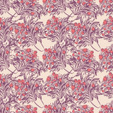 Seamless wallpaper pattern with tulips in vase. Sketch drawing on colorful background stock illustration
