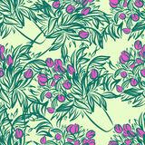 Seamless wallpaper pattern with tulips in vase Royalty Free Stock Photography